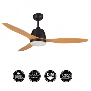 Elite Ceiling fan With Led Matt Black With Bamboo Blades