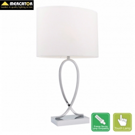 White Campbell Touch Table Lamp Small