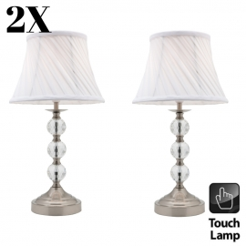 Owen Pair Touch lamps Brushed Chrome