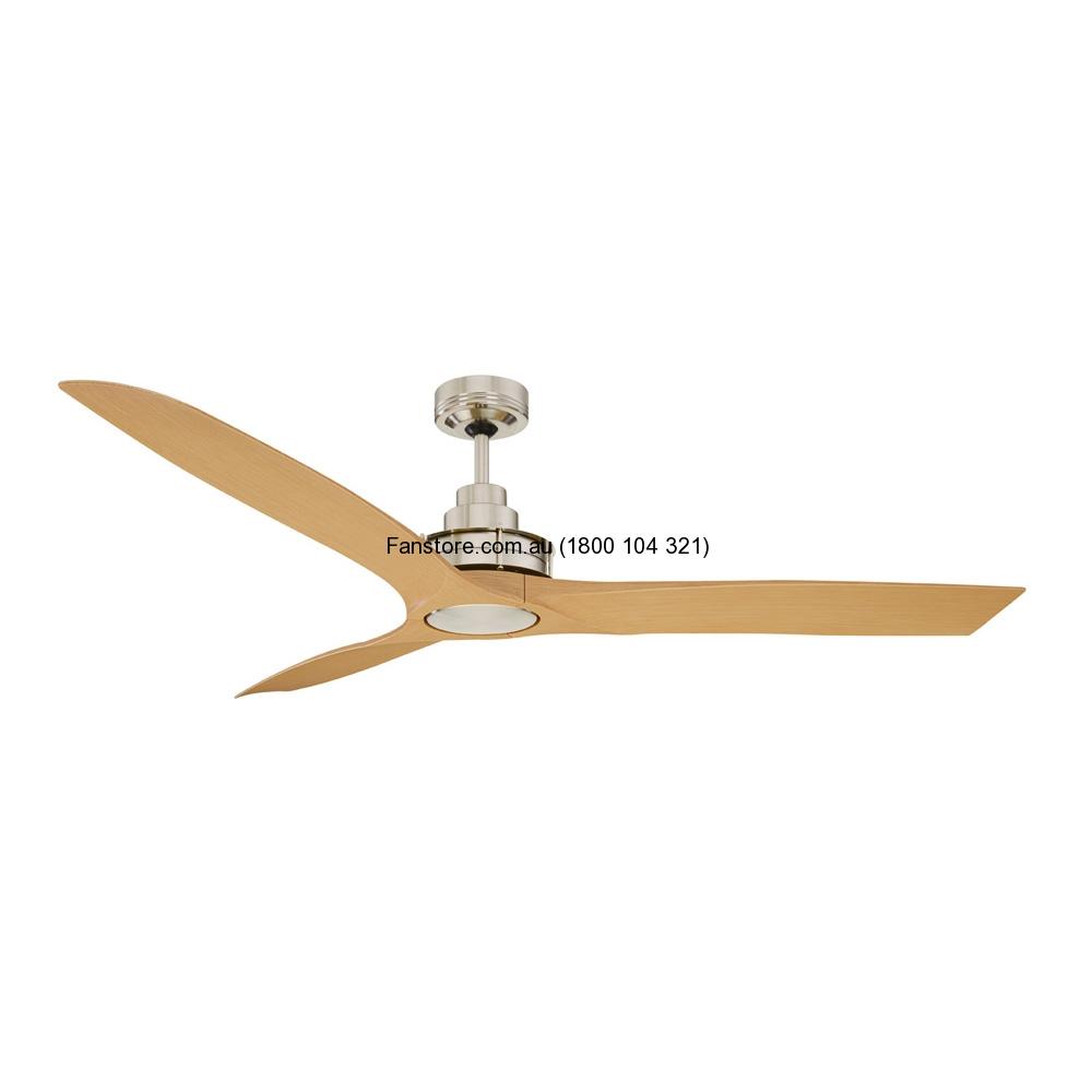 Flinders Ceiling Fan Brushed Chrome Maple Blades