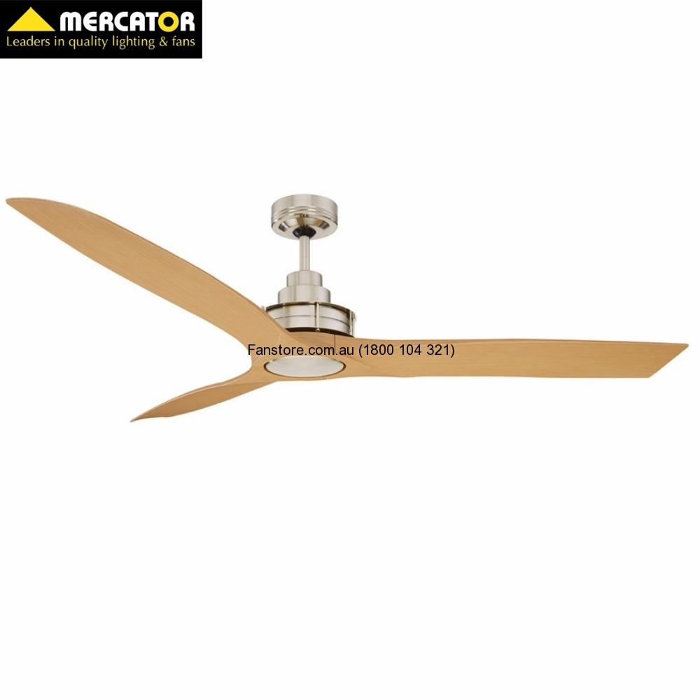 "Flinders 56"" Ceiling Fan Brushed Chrome / Maple Blades No Light"