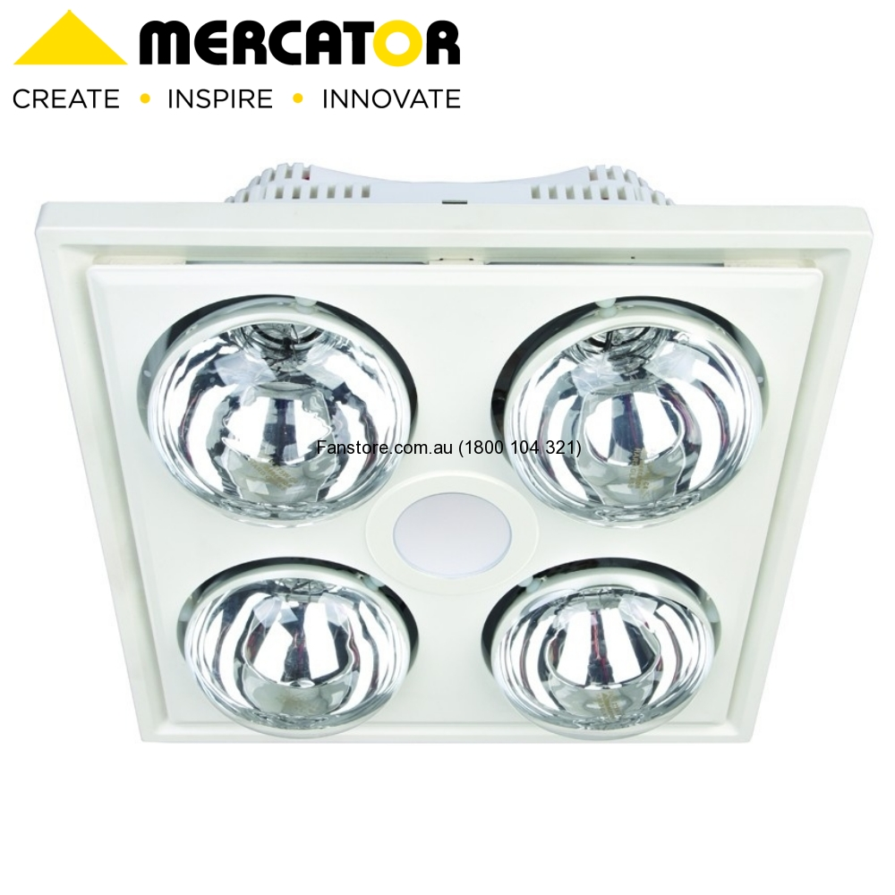 Midas Quattro Bathroom Heater With Exhaust And Led Light White Mercator Lighting Bs134eswwh