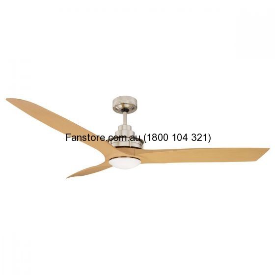 Flinders Ceiling Fan Maple Blades Brushed Chrome