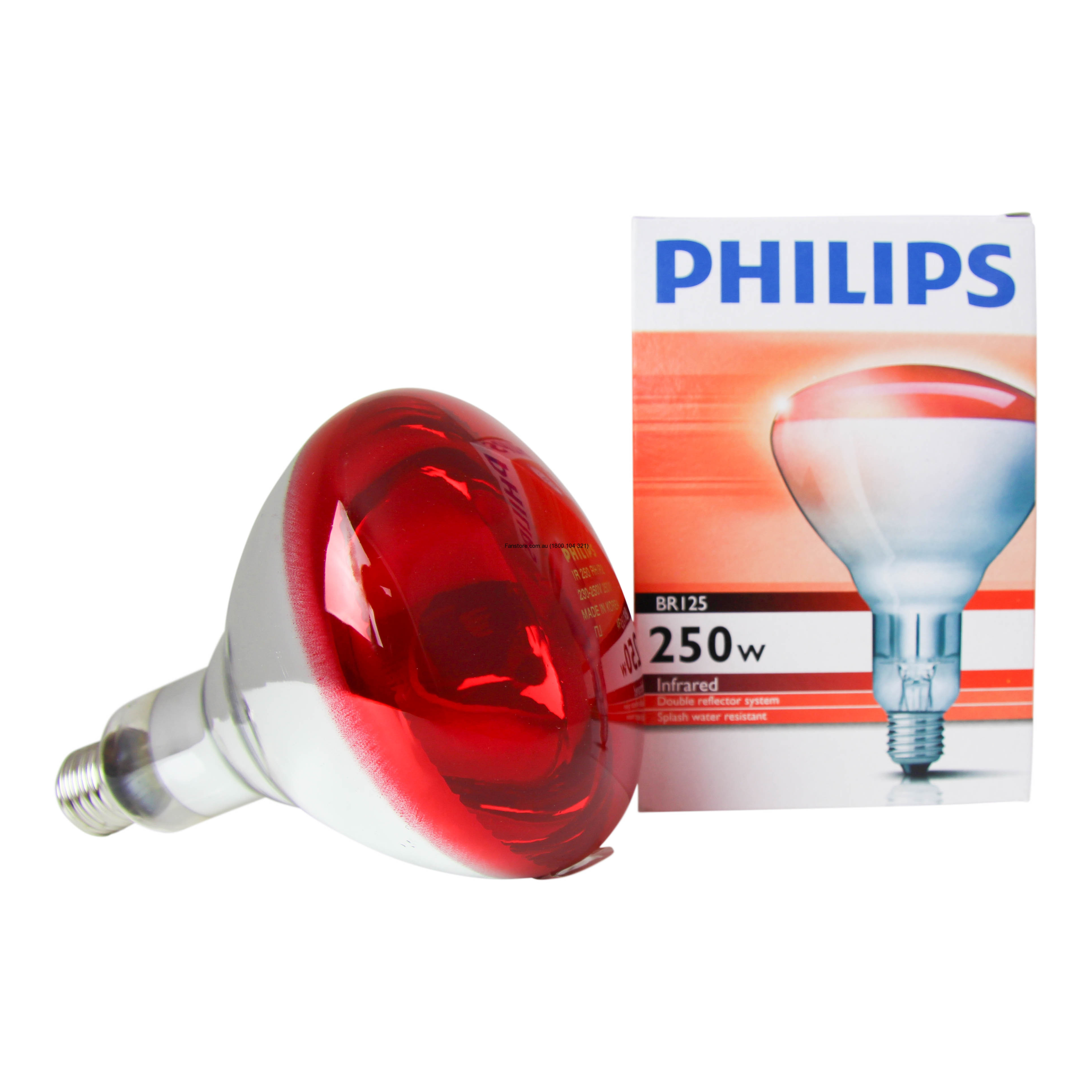 Philips BR125 IR 250W E27 230-250V Red for Philips Infrared Heat Lamp  103wja