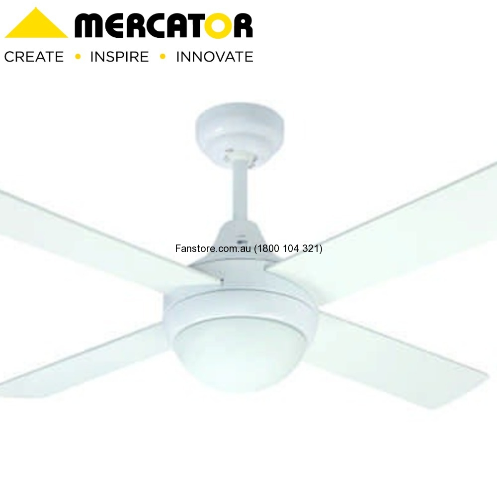 Mercator 120cm Glendale White Timber Ceiling Fan Light With Remote Fc182124rwh