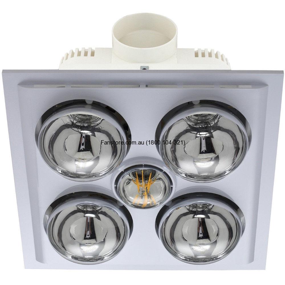 Mercator Lava Quattro Led Bathroom 3 In 1 Heat Light Exhaust Fan White